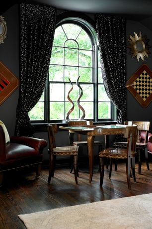 Eclectic Game Room with Hardwood floors, Arched window