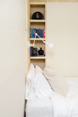 Contemporary Guest Bedroom with Built-in bookshelf, Nook