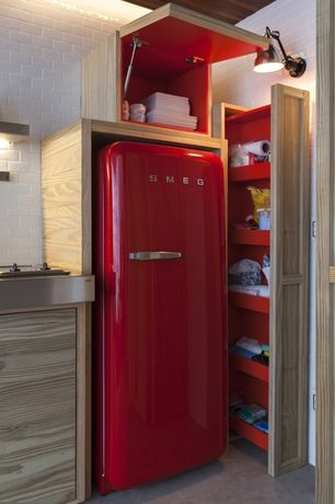 Eclectic Kitchen with Smeg - 50's style refrigerator with ice compartment, red, right hand hinge, Custom cabinetry, Paint