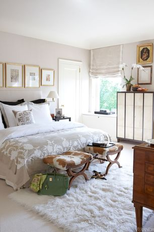 Traditional Master Bedroom with Standard height, Casement, bedroom reading light, specialty door, Carpet