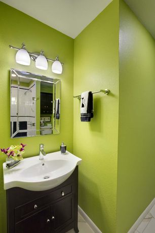Modern Powder Room with three quarter bath, Shower, Console sink, stone tile floors, Paint, Standard height, Flush