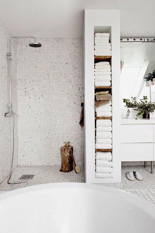 Traditional Master Bathroom with Flush, European Cabinets, stone tile floors, Corian counters, Rain shower, Paint 1, Bathtub