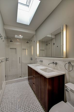 Traditional 3/4 Bathroom with Flush, Delta trinsic wall mount faucet, Double sink, Simple granite counters, European Cabinets