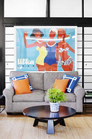 Contemporary Living Room with Standard height, Shoji door, picture window, Hardwood floors
