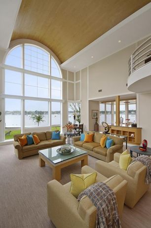 Modern Living Room with Cathedral ceiling, Arched window, Henry Armchair, Cameron Roll Arm Sofa, Loft, Carpet