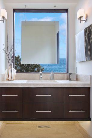 Contemporary Full Bathroom with Flat panel cabinets, Arizona Salem Grey limestone tile, Tuscany Honed/Filled Travertine