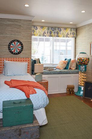 Contemporary Kids Bedroom with Window seat, interior wallpaper, Teal Wooden Storage Box, Hardwood floors, Crown molding