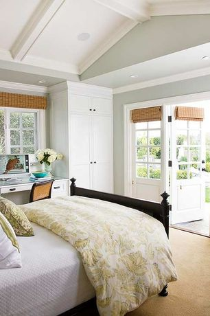 Traditional Guest Bedroom with Pottery barn sienna paisley duvet cover, High ceiling, Exposed beam, Built-in desk, Casement
