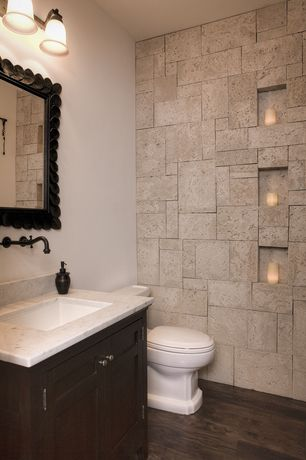 Eclectic Powder Room with Simple marble counters, Undermount sink, Simple Marble, Nuvo lighting ballerina, Inset cabinets