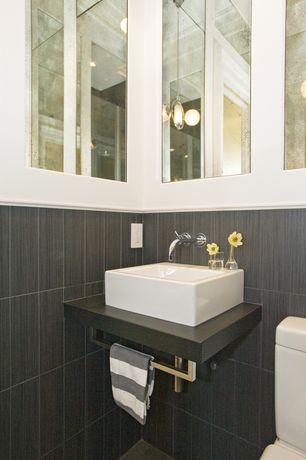Contemporary Powder Room with Undermount bathroom sink, Powder room, Standard height, large ceramic tile floors, Paint 1