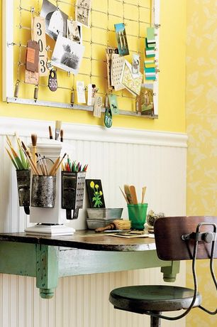 Cottage Home Office with interior wallpaper, Repurposed drop leaf table, DIY Crib Spring Inspiration Board, Wainscotting