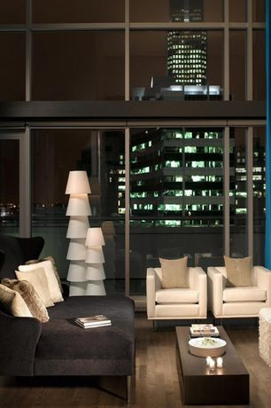 Contemporary Living Room with High ceiling, Hardwood floors, Tom Dixon Wingback Sofa 2-Seater