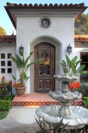 Eclectic Front Door with Bella 2 tierra high fired handcrafted decorative floor tile, Glass panel door, Fountain, Bird bath