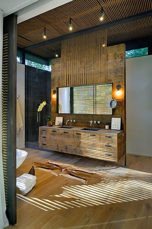 Contemporary Master Bathroom with Exposed beam, Nuvo Lighting 60-5514 1 Light Vintage Wall Sconce, Rustic Bronze, Flush