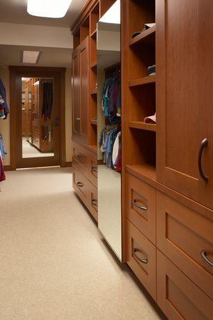 Craftsman Closet with Standard height, Built-in bookshelf, Carpet, French doors, flush light