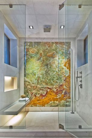 "Contemporary 3/4 Bathroom with Built-in marble shower bench, Aquabrass Square Rainhead 12"", In shower lighting, Rain shower"