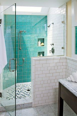 Eclectic 3/4 Bathroom with Giorbello subway tile in bright white, frameless showerdoor, Handheld showerhead, Skylight