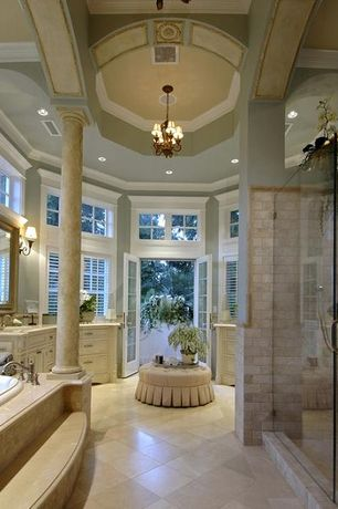 Traditional Master Bathroom with frameless showerdoor, Master bathroom, Chandelier, Paint, Wall mounted light, Paint 2