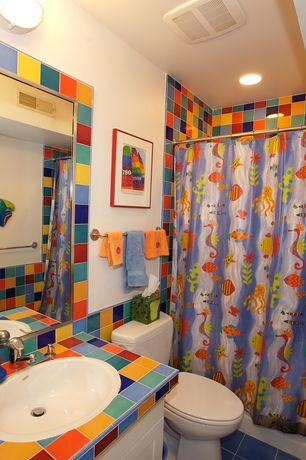 Eclectic Kids Bathroom with tiled wall showerbath, Flush, Wall mounted sink, Kids bathroom, Flat panel cabinets