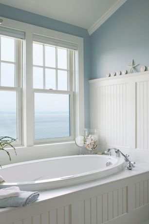 Cottage Master Bathroom with Wainscotting, Crown molding, Beadboard, Master bathroom, High ceiling