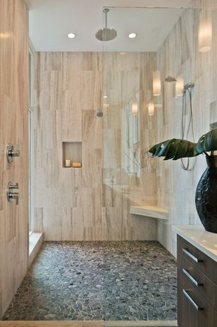 Contemporary Master Bathroom with Onyx crystal 12 in. x 24 in. glazed porcelain floor and wall tile, Pebble tile mosaic