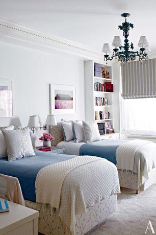 Traditional Kids Bedroom with Built-in bookshelf, Chandelier, Carpet, Crown molding