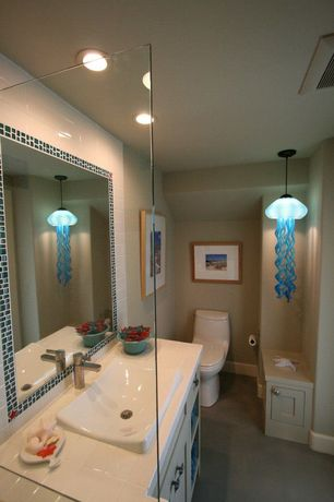 Contemporary 3/4 Bathroom with Shower, Concrete floors, no showerdoor, Wall Tiles, Standard height, can lights, Pendant light