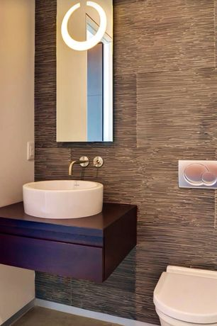 Modern Powder Room with specialty door, Powder room, Wood counters, Duravit 115770465 Sigma01 Flush Plate In Matte Chrome