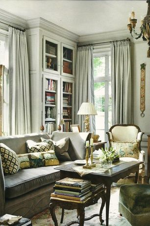 Traditional Living Room with Built-in bookshelf, Carpet, Crown molding, French doors, Chandelier