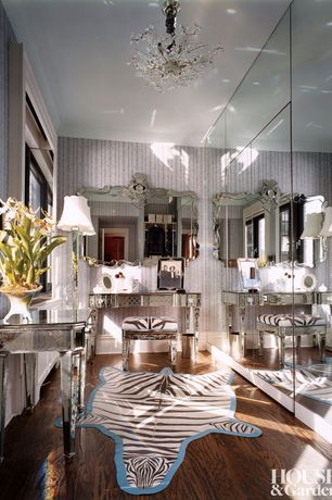Eclectic Closet with Standard height, French doors, Chandelier, Hardwood floors, interior wallpaper, Casement