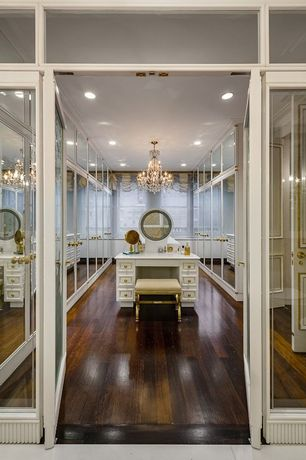 Traditional Closet with Chandelier, French doors, Crown molding, Transom window, Hardwood floors