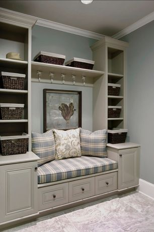 Traditional Entryway with Camella Toile Cotton Throw Pillow, Built-in bookshelf, Crown molding, Carpet