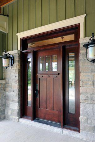 Craftsman Front Door with Transom window, Glass panel door, Concrete floors, Wall sconce, Craftsman Door Collection DbyD-4077