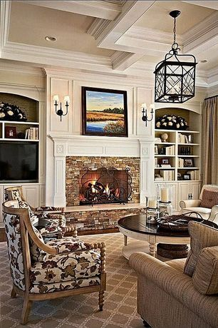 Traditional Living Room with Box ceiling, Hickory Chair Celine Exposed Leg Sofa, Crown molding, Pendant light, Wall sconce