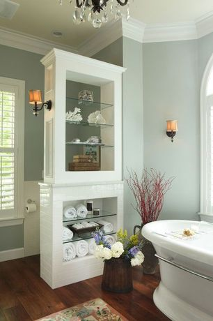 Traditional Full Bathroom with Subway Tile, White subway tile 3x6 glossy, Interior plantation shutters, Chandelier