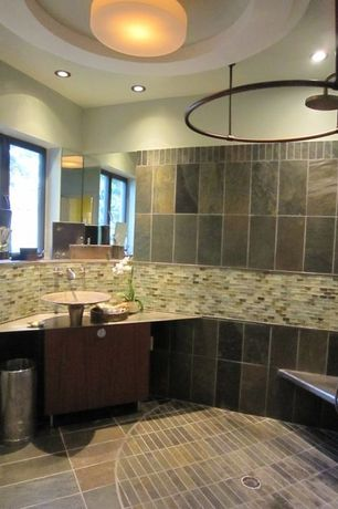 Contemporary 3/4 Bathroom with European Cabinets, flush light, Rain shower, Arizona tile, RUSTIC GOLD, Slate, Inset cabinets