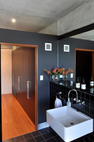 Contemporary Master Bathroom with European Cabinets, Kingston Brass EV4158 Elements Vitreous China Basin Vessel Sink, Flush