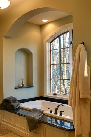 Traditional Master Bathroom with Delta Windemere Roman Tub Trim, Formica counters, Master bathroom, flush light, Flush