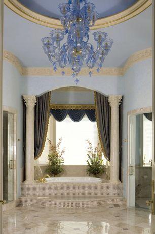 Traditional Master Bathroom with Pental - Bone White Polished Travertine Slab, specialty door, Master bathroom, Columns