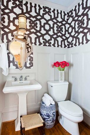 Traditional Powder Room with Damask leaf scroll wallpaper, Crown molding, Powder room, Wainscotting, Hardwood floors