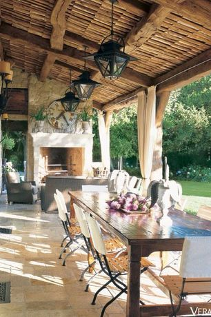 Rustic Porch with Quoizel carson outdoor pendant, Wrap around porch, Restoration hardware french beam weathered dining bench