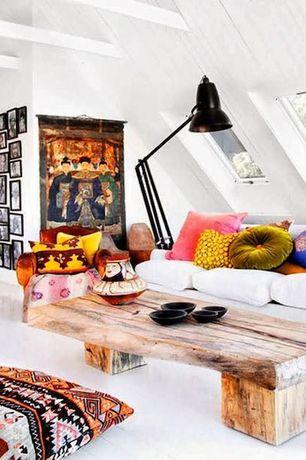Eclectic Living Room with Hardwood floors, Exposed beam, Skylight, Oversize Desk lamp floor lamp