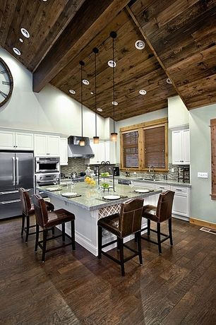 Contemporary Kitchen with LBL Lighting Cube 1 Light Mini Pendant, Wood paneled ceiling, Cathedral ceiling, Breakfast bar