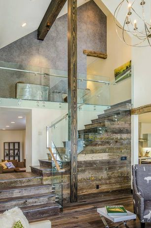 Contemporary Staircase with Columns, Exposed beam, High ceiling, Loft, Hardwood floors