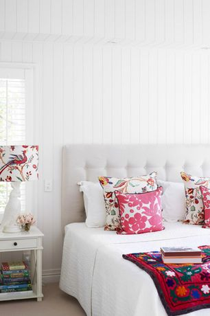 Cottage Guest Bedroom with Breadboard wall, Pottery barn hanna quilt, Decorative throw pillows, Carpet