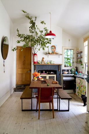 Eclectic Dining Room with stone fireplace, Hardwood floors, Built-in bookshelf, specialty door, Pendant light