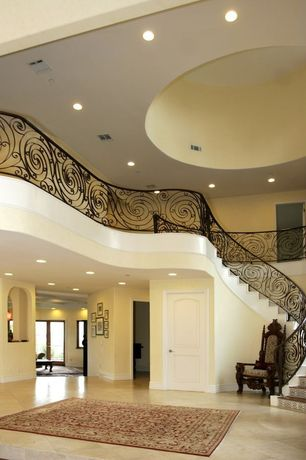 Eclectic Staircase with High ceiling