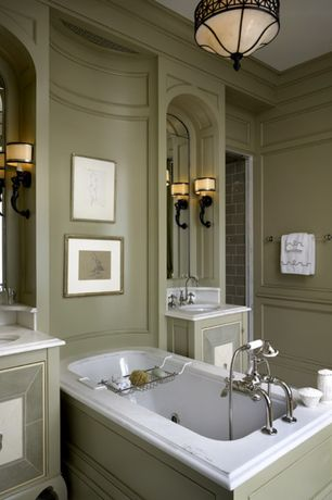 Traditional Master Bathroom with Master bathroom, Crown molding, Undermount sink, Flat panel cabinets, Jetted, Wall sconce