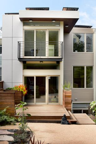 Contemporary Deck with Pathway, Deck Railing, sliding glass door, specialty window