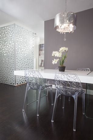 Contemporary Dining Room with West elm parsons dining table - rectangle, Laminate floors, Chandelier